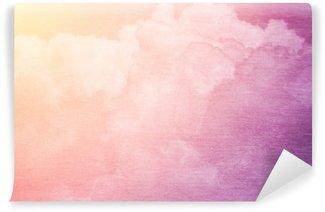 Vinyl-Fototapete Fantasie Himmel und Wolken mit Pastellfarbverlauf und Grunge-Textur