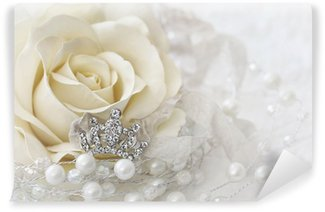 Vinyl-Fototapete Farbe Creme Rose mit jeweled Krone