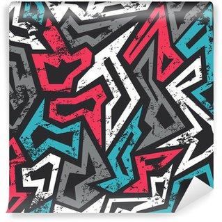 Vinyl-Fototapete Farbige Graffiti nahtlose Muster mit Grunge-Effekt