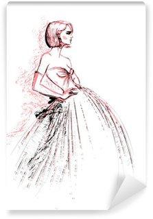 Vinyl-Fototapete Fashion Modell trägt Abendkleid