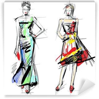 Vinyl-Fototapete Fashion-Modelle. Sketch.