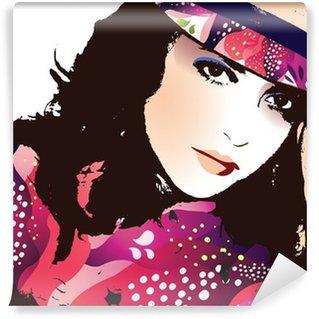 Vinyl-Fototapete Fashion Woman Portrait-Vector Illustration
