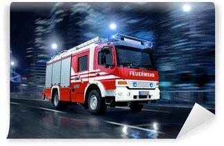 Vinyl Fototapete Feuerwehr im einsatz
