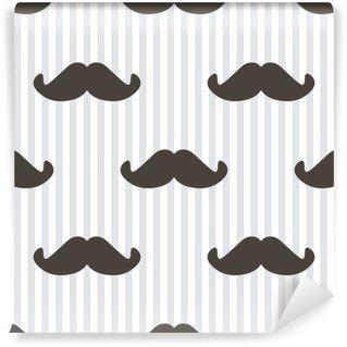 Vinyl-Fototapete Flache Design, Vektor-Hipster Schnurrbart und Streifen nahtlose Muster Hintergrund.