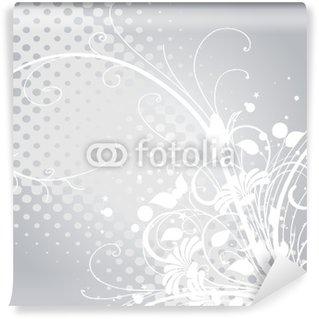 Vinyl Fototapete Floralen Arabesken und weiß grau silber