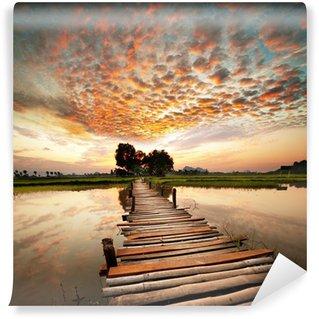Vinyl-Fototapete Fluss bei Sonnenuntergang