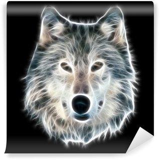 Vinyl-Fototapete Fractal Wolf Illustration