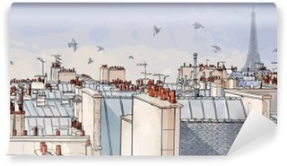 Vinyl Fototapete Frankreich - Paris Dächern