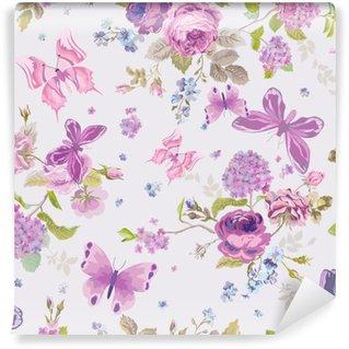 Vinyl-Fototapete Frühlings-Blumen-Hintergrund mit Butterflies- Seamless Floral Shabby