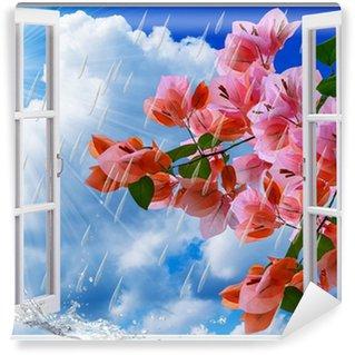 Vinyl-Fototapete Frühlings-regen, Blick aus dem Fenster
