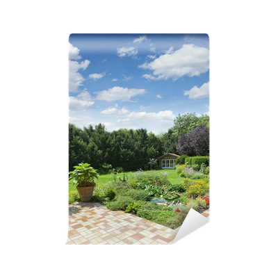 Fototapete gartenanlage mit teich und terrasse pixers for Gartenanlage mit teich