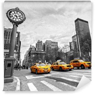 Vinyl-Fototapete Gelbe Taxis auf einer New Yorker Straße