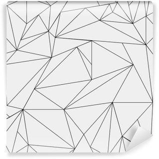 Vinyl-Fototapete Geometrische einfache Schwarz-Weiß minimalistische Muster, Dreiecke oder Buntglasfenster. Kann als Hintergrund, Hintergrund oder Textur verwendet werden.