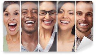 Vinyl-Fototapete Glückliche Menschen Gesichter Set