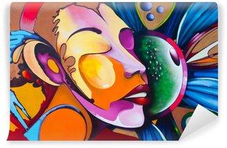 Vinyl Fototapete Graffiti face