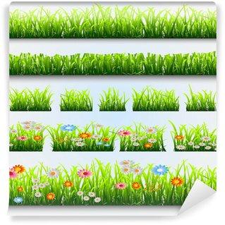 Vinyl-Fototapete Gras und Blumen