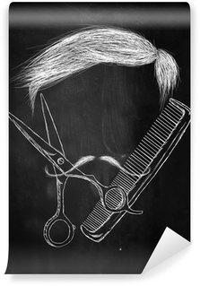 Vinyl-Fototapete Haarschere Kamm Schnurrbart