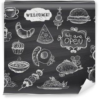 Vinyl Fototapete Hand gezeichnet verschiedenen Speisen und Getränken Grafik.