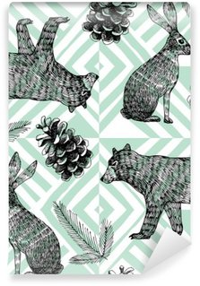 Vinyl-Fototapete Hand gezeichnet Winter trendy Muster, geometrische Hintergrund