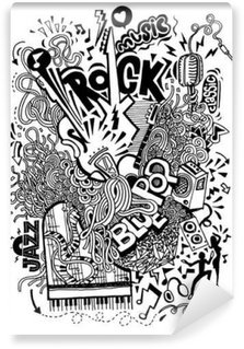 Vinyl-Fototapete Handzeichnung Gekritzel, Collage mit Musikinstrumenten