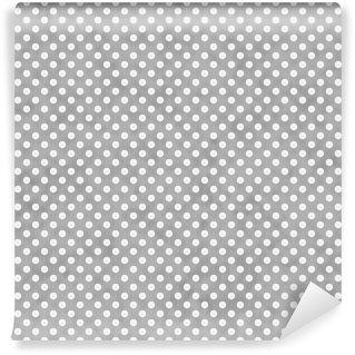 Vinyl-Fototapete Hellgrau und Weiß Kleine Tupfen-Muster Wiederholen Hintergrund