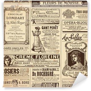 Vinyl Fototapete Hintergrund / Muster von Vintage-französisch-Anzeigen auf Themen Damen gemacht