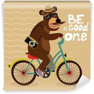 Vinyl-Fototapete Hipster-Poster mit Aussenseiter bear