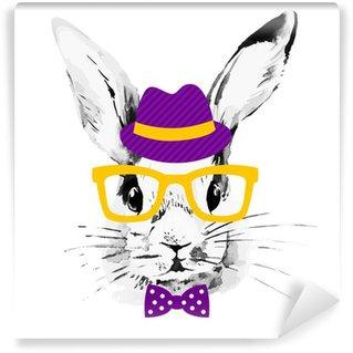 Vinyl-Fototapete Hipster rabbit. Hand drawn watercolor sketch portrait
