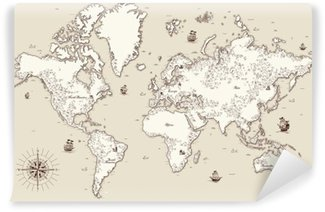 Vinyl-Fototapete Hohe detaillierte, Weltkarte mit dekorativen Elementen