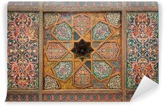 Vinyl-Fototapete Holzdecke, orientalische Ornamente aus Chiwa, Usbekistan
