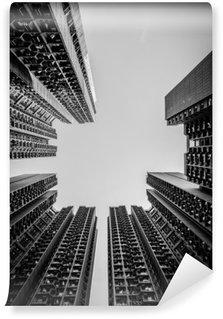 Vinyl Fototapete Hong Kong Stadtbild Schwarz-Weiß-Ton