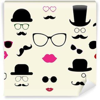 Vinyl-Fototapete Hüte, Schnurrbärte, Brillen, Lippen Vector Icon Set