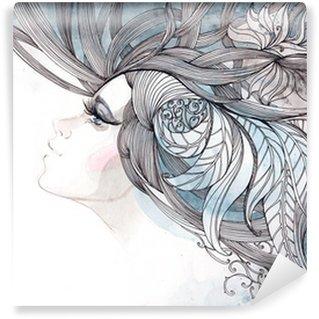 Vinyl Fototapete Ihr Haar kunstvoll mit Laub