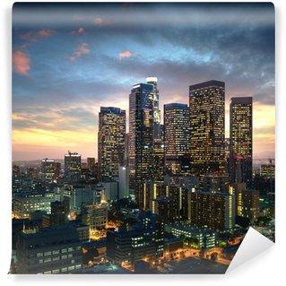 Vinyl Fototapete Innenstadt von Los Angeles bei Sonnenuntergang, Kalifornien