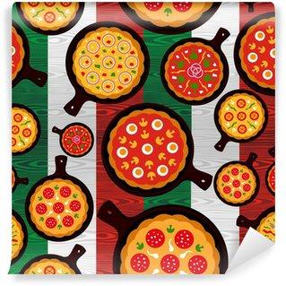 Vinyl Fototapete Italienische Pizza Geschmacksrichtungen Muster