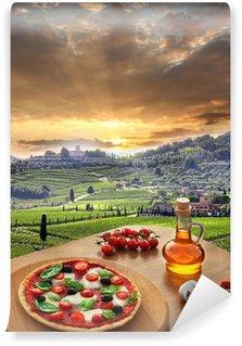 Vinyl Fototapete Italienische Pizza in Chianti, Toskana-Landschaft, Italien