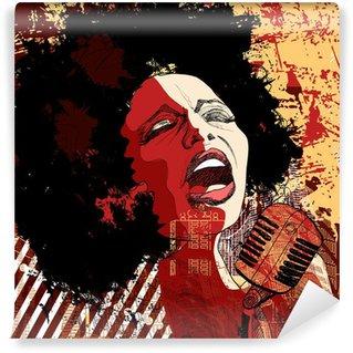 Vinyl-Fototapete Jazz-Sängerin auf Grunge-Hintergrund