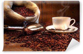 Vinyl-Fototapete Kaffeetasse mit Sack von gerösteten Bohnen
