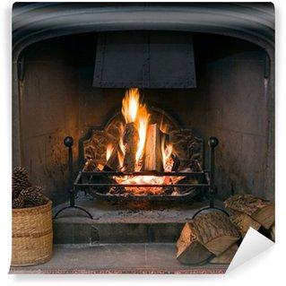Vinyl-Fototapete Kamin aus Stein mit einer brennenden Kaminfeuer