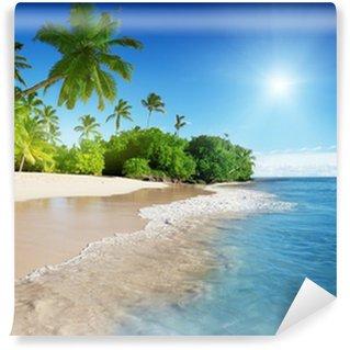 Vinyl Fototapete Karibische Meer und Palmen