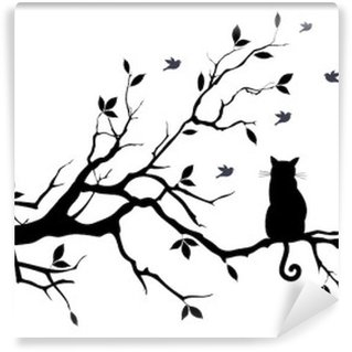 Vinyl-Fototapete Katze auf einem Baum mit Vögeln, Vektor