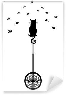 Vinyl-Fototapete Katze auf Einrad mit Vögeln, Vektor