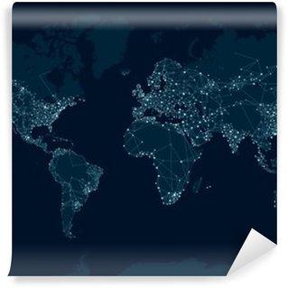 Vinyl-Fototapete Kommunikationsnetzkarte der Welt