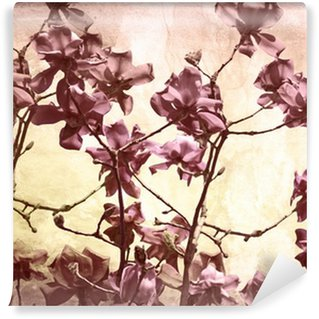 Vinyl Fototapete Künstlerische Hintergrund mit Magnolien