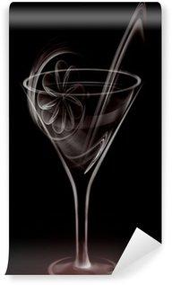 Vinyl-Fototapete Künstlerische Smoke Cocktail-Glas auf schwarzem