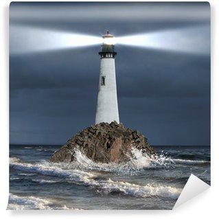 Vinyl Fototapete Leuchtturm mit einem Lichtstrahl