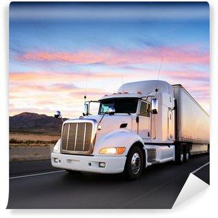 Vinyl Fototapete LKW und Autobahn bei Sonnenuntergang - Transport Hintergrund