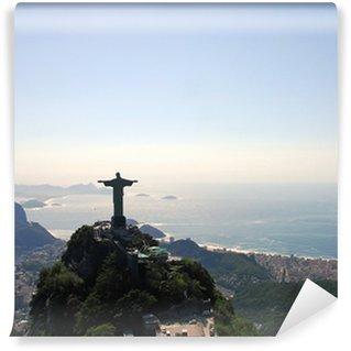 Vinyl-Fototapete Luftaufnahme von Rio De Janeiro mit Christus, dem Erlöser, Monument