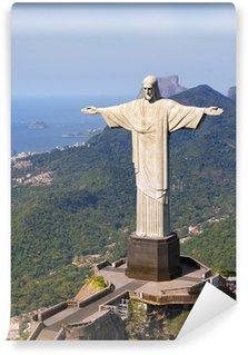 Vinyl-Fototapete Luftbild von Christus dem Erlöser Denkmal und Rio De Janeiro