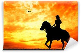 Vinyl-Fototapete Mädchen auf dem Pferd